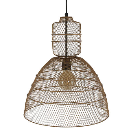 Anne Lighting Suspension Yogyakarta D'or en métal doré mat 42.5x42.5x50 / 170 cm