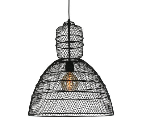 Anne Lighting Suspension Yogyakarta D'or en métal noir mat 42.5x42.5x50 / 170 cm