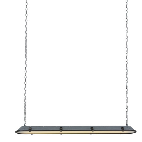 Anne Lighting Suspension Tubalar look béton gris métal verre 120x15x16.5cm