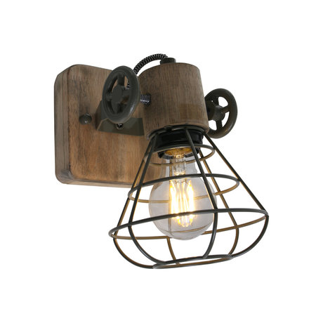 Anne Lighting Spot 1-L Guersey Olivgrünes Metall Holz 14x27x18cm