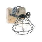 Anne Lighting Spot 1-L Guersey gris métal brun bois 14x27x18cm
