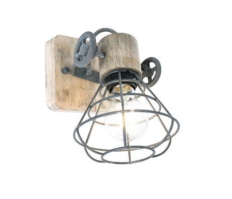 Anne Lighting Spot 1-L Guersey grijs bruin metaal hout 14x27x18cm