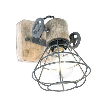 Anne Lighting Spot 1-L Guersey gray brown metal wood 14x27x18cm