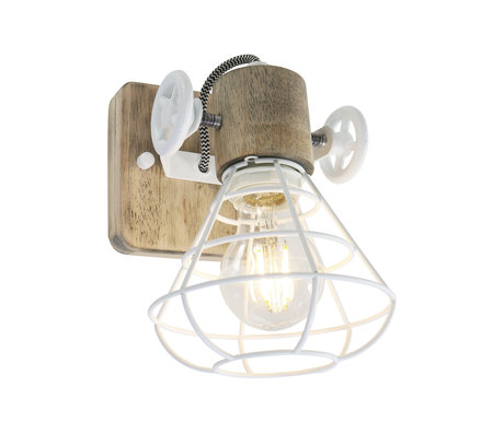 Anne Lighting Spot 1-L Guersey white brown metal wood 14x27x18cm