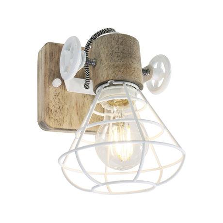 Anne Lighting Spot 1-L Guersey weiß braun Metall Holz 14x27x18cm