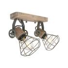 Anne Lighting Spot 2-L Guersey Olivgrünes Metall Holz 18x31x18cm