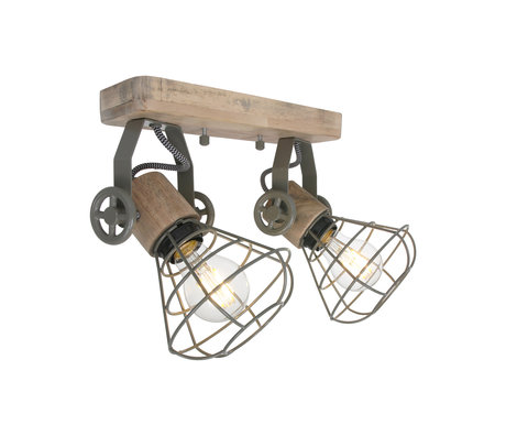 Anne Lighting Spot 2-L Guersey Olive green metal wood 18x31x18cm