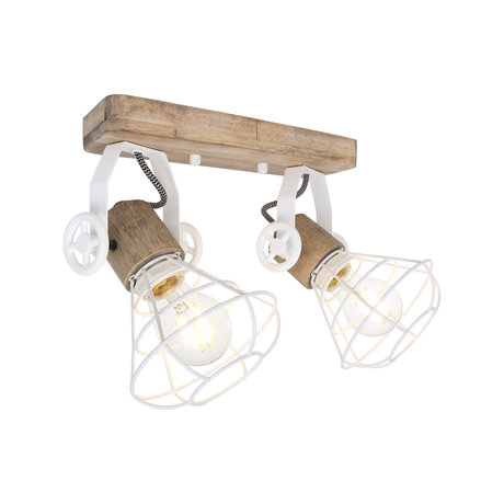 Anne Lighting Spot 2-L Guersey blanc métal brun bois bois 18x31x18cm
