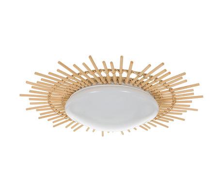 Anne Lighting Plafondlamp Aura wit Kunststof hout ijzer Ø50x9cm