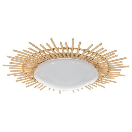 Anne Lighting Plafonnier Aura blanc Plastique bois fer Ø50x9cm