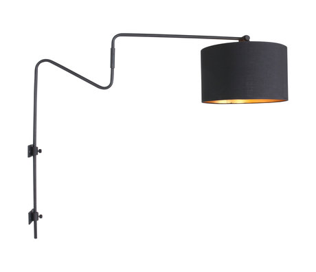 Anne Lighting Wall lamp Linstrøm matt black metal textile 90x30x70cm