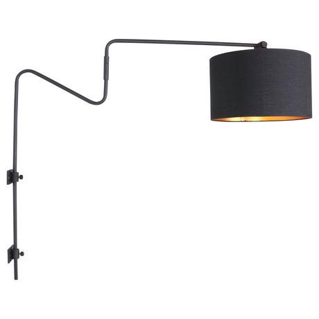 Anne Lighting Wandlamp Linstrøm mat zwart metaal textiel 85x30x70cm