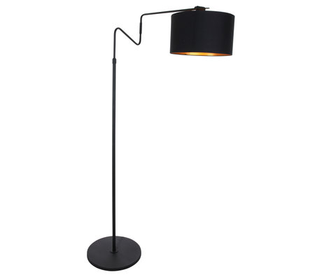 Anne Lighting Floor lamp Linstrøm matt black metal textile 90x30x140-180cm
