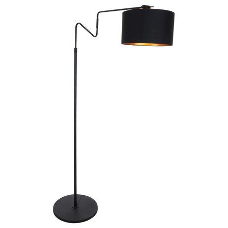 Anne Lighting Vloerlamp Linstrøm mat zwart metaal textiel 90x30x140-180cm
