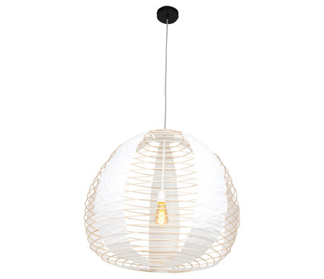 Anne Lighting Suspension Bangalore en textile blanc bambou Ø90x80-220cm