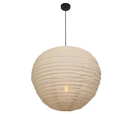 Anne Lighting Lampe à suspension Bangalore crème textile bambou Ø70x77-199cm