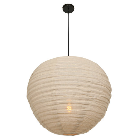 Anne Lighting Hängende Lampe Bangalore cremefarbener Textilbambus 70x70x199cm