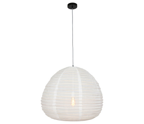 Anne Lighting Lampe à suspension Bangalore textile blanc bambou Ø70x77-199cm