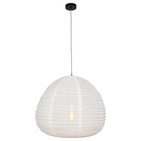 Anne Lighting Hängelampe Bangalore weiß Textil Bambus 70x70x199cm