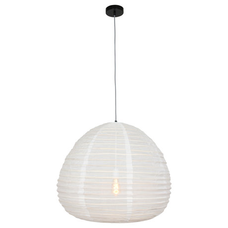 Anne Lighting Suspension Bangalore en textile blanc bambou 70x70x199cm