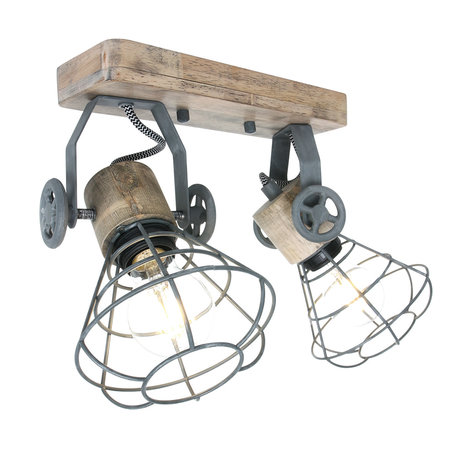 Anne Lighting Spot 2-L Guersey gray brown metal wood 18x31x18cm