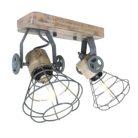 Anne Lighting Spot 2-L Guersey gris métal brun bois 18x31x18cm