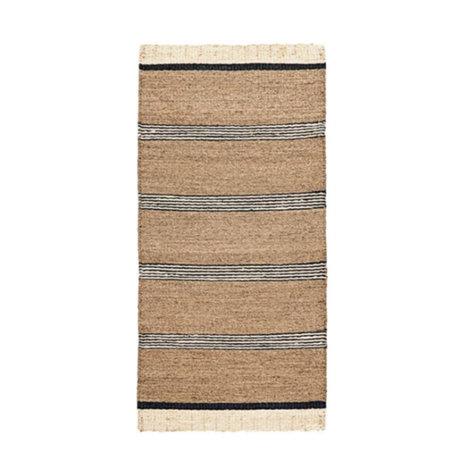 Housedoctor Rug Beach brun herbe de mer noir et blanc 90x200cm