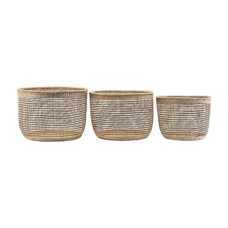 Housedoctor Basket shape mix natural seagrass alrge set of 3