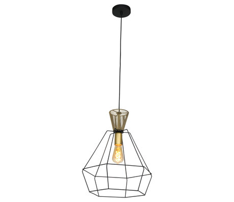 Anne Lighting Suspension Novac en métal noir mat 38x38x178cm