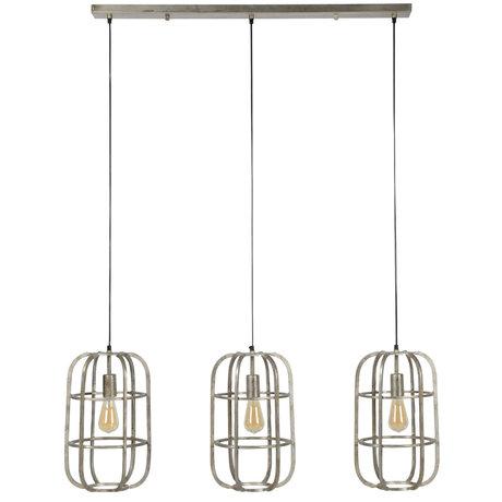wonenmetlef Hanging lamp Luke 3-light antique silver steel 115x27x150cm