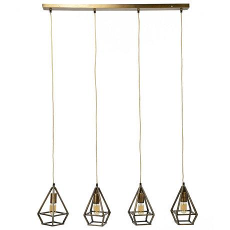 wonenmetlef Hanglamp Bruce 4-lichts antiek brons metaal 110x16x150cm