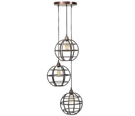 wonenmetlef Hanging lamp Boaz 3-light antique copper metal Ø50x150cm