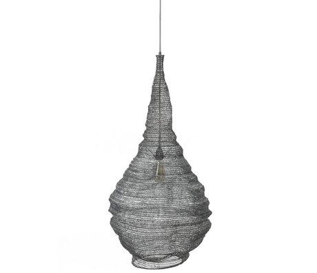 wonenmetlef Hängelampe Hope grau Metall Ø50x150cm