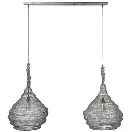 wonenmetlef Hanging lamp Hope 2-light gray metal 130x45x150cm