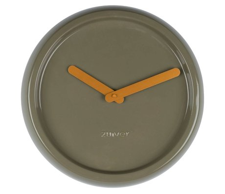 Zuiver Pure Clock ceramic green with yellow gold hands Ø35x10cm