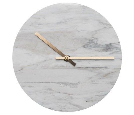 Zuiver Marbre horloge avec des pointeurs en laiton d'or Ø25x4,5cm