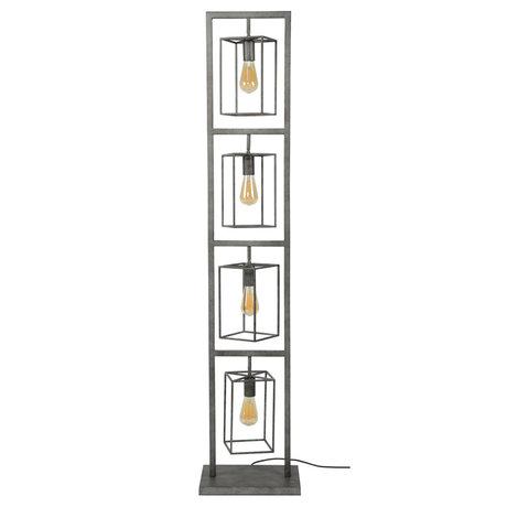 wonenmetlef Lampadaire Quint 4 lumières vieil argent en métal 34x24x160cm
