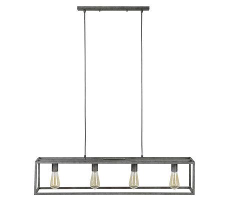 wonenmetlef Hanglamp Quint 4-lichts oud zilver metaal 98x18x150cm