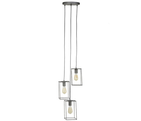 wonenmetlef Hängelampe Quint 3-Licht Altsilber Metall 25x25x150cm