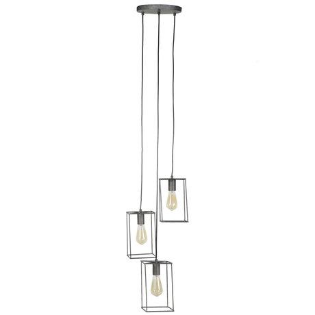 wonenmetlef Lampe à suspension Quint 3 lumières ancienne en métal argenté 25x25x150cm