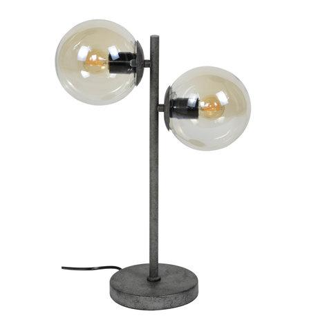 mister FRENKIE Tafellamp Vinnie 2-lichts oud zilver glas metaal 34x35x50cm