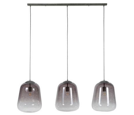 wonenmetlef Xavi suspension 3 lumières verre gris métal 135x32x150cm