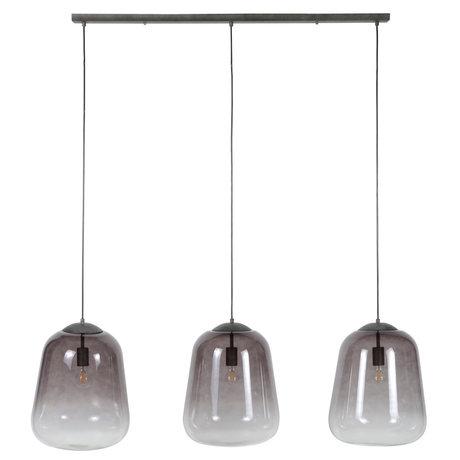 wonenmetlef Xavi hanging lamp 3-light gray glass metal 135x32x150cm