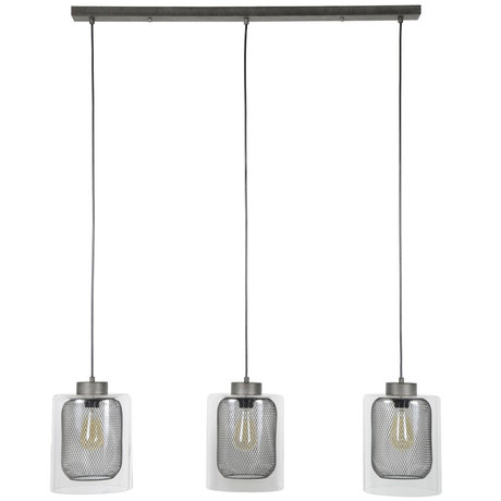 wonenmetlef Jessie hanging lamp 3-light old silver glass metal 100x20x150cm