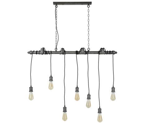 wonenmetlef Hanglamp Onyx 7-lichts oud zilver metaal 120x10x150cm