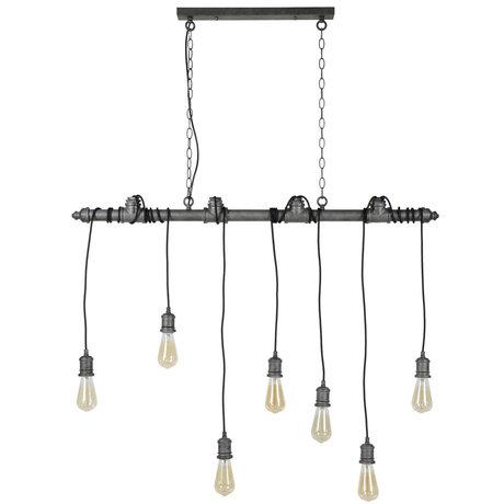 wonenmetlef Lampe suspendue Onyx à 7 lumières, argenté 120x10x150cm