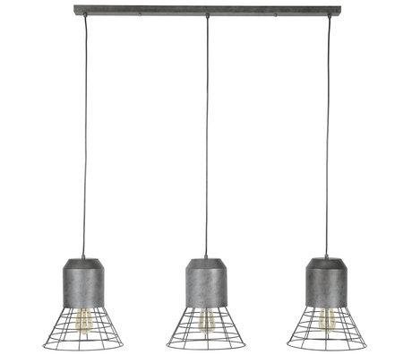 wonenmetlef Hanglamp Roxy  3-lichts oud zilver metaal 120x30x150cm