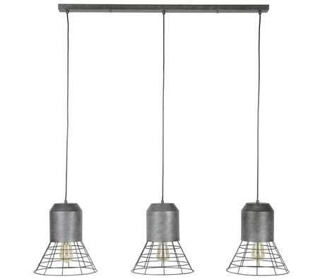 wonenmetlef Roxy Hängelampe 3-Licht Altsilber Metall 120x30x150cm