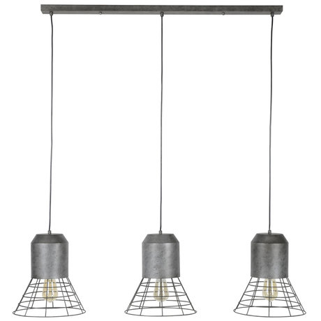 wonenmetlef Suspension Roxy 3 lumières ancienne en métal argenté 120x30x150cm