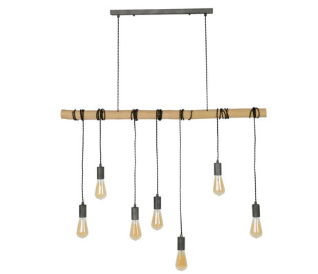 wonenmetlef Hanging lamp Avery 7-light natural brown black bamboo 120x6x150cm